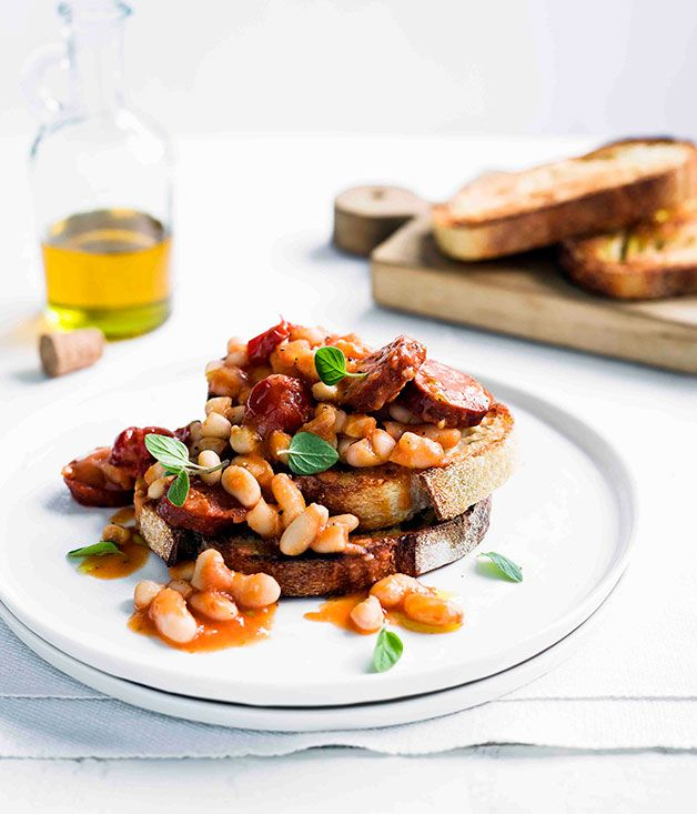 Beans and chorizo on toast - Gourmet Traveller