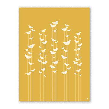 Love birds and love yellow. : )  Birds Print 18x24 / Christopher David Ryan