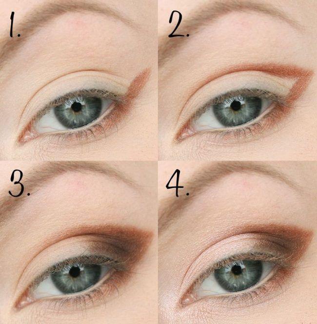 Повседневный макияж для голубых глаз. Шаг 1-4
