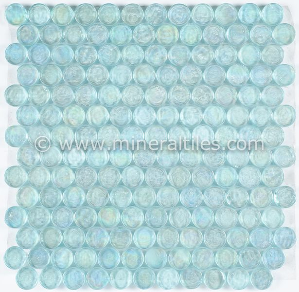 iridescent pool glass tile aqua penny round