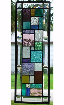 "GEOMETRIC STAINED GLASS WINDOW PANEL - 8"" x 24"" - HANGS TWO WAYS 