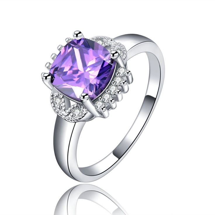 wholesale silver plated Purple Stone Rings For Women  jewelry engagement wedding ring bague bijoux accessories MSR117