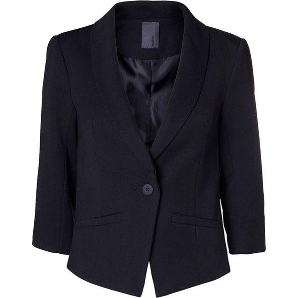 Evaline blazer sort Minimum (600 DKK) via Polyvore featuring outerwear, jackets, blazers, blazer jacket, blue blazer jacket, blue blazer and blue jackets