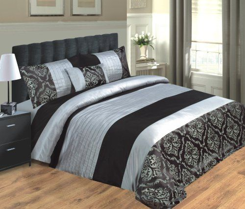LUXURY SAPPHIRE BEDDING DUVET COVER / BED SET WITH PILLOWCASES AND CUSHION, FAUX SILK - BLACK & SILVER - DOUBLE KING & SUPER KING SIZE (Black & Silver, Super King): Amazon.co.uk: Kitchen & HomeSale:£33.99 + £4.99 delivery