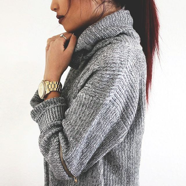 grey turtleneck + gold watch