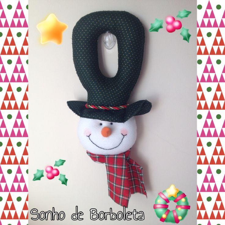 Boneco de neve maçaneta de porta