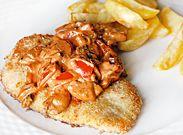Schnitzel with a creamy mushroom sauce
