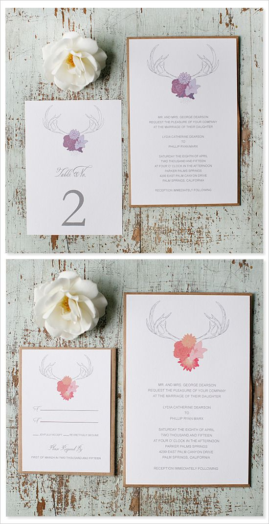 Free Antler Wedding Invitation