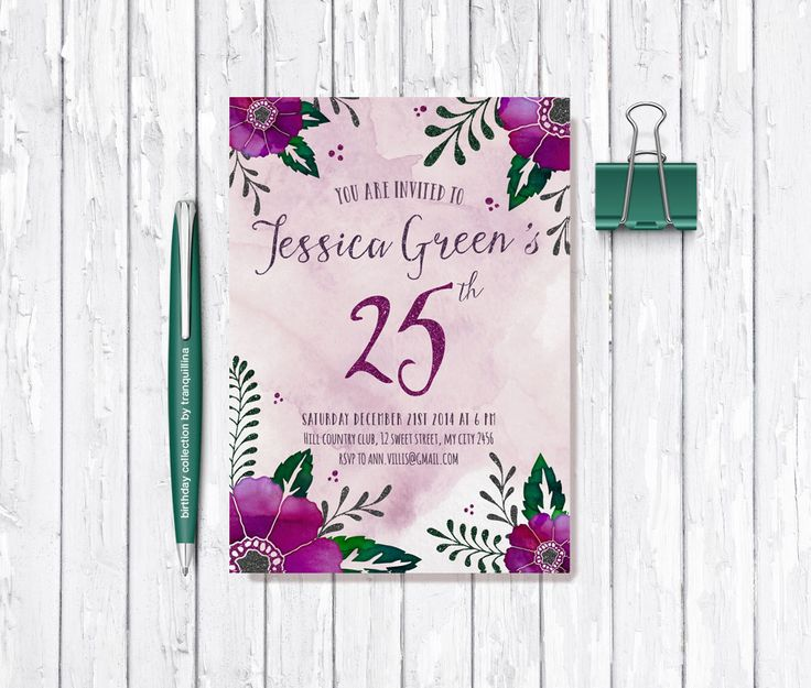 Floral Glitter Birthday Card by #Tranquillina #Croatia From £10.00