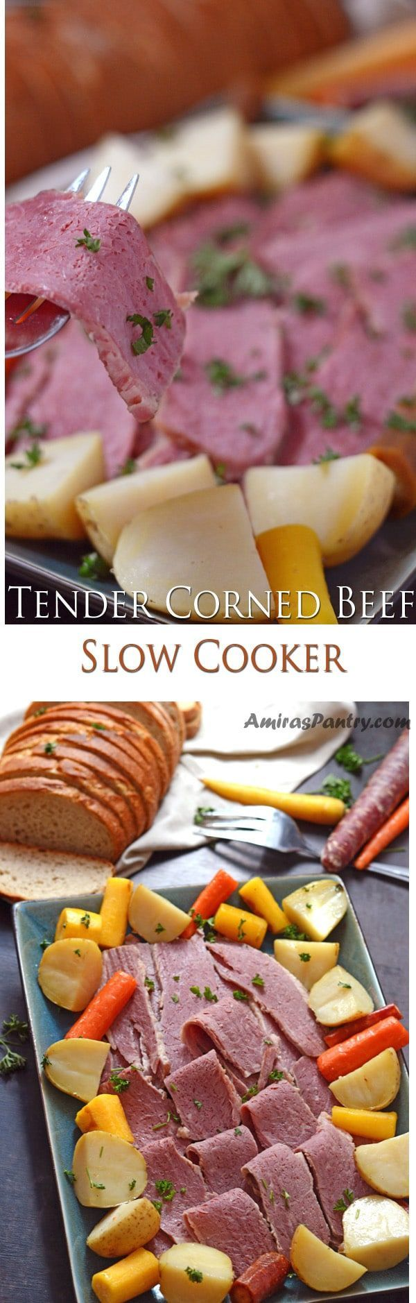 Tender Corned Beef, flavorful and fork tender. Making corned beef brisket has never been easier with this slow cooker approach. Search no more…this is THE perfect recipe for this timeless St. Patrick classic. #stpatrick #stpatricksday #party #green | amiraspantry.com