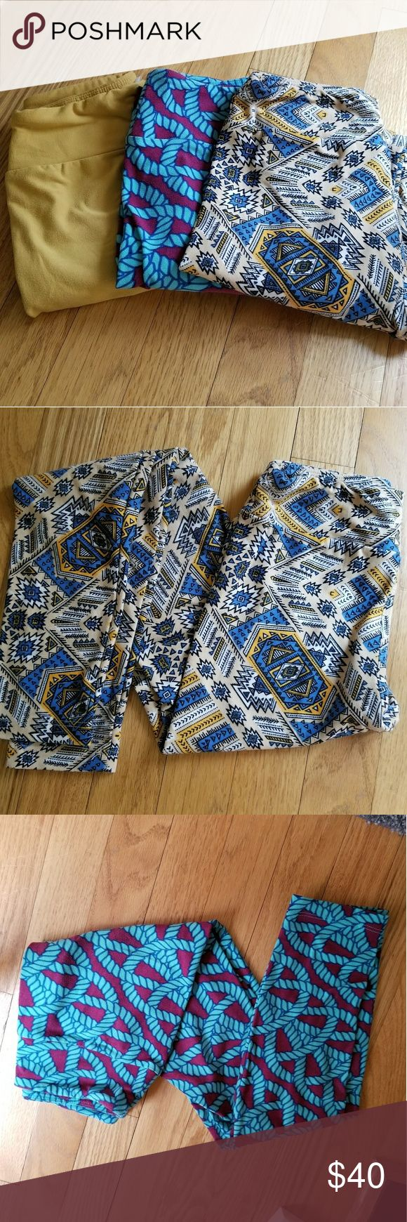 Lularoe tween leggings These are all worn tween leggings. Mustard and Aztec print leggings have been worn 1 time and are in perfect condition. Rope leggings have been worn a few times and have wear on the knees as shown in the photo. Price is for all 3. LuLaRoe Pants Leggings