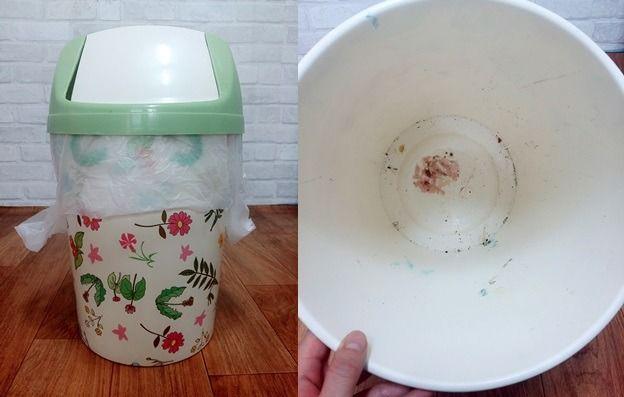 비닐 씌우는 번거로움 없이 쓰레기통 깨끗하게 사용하는 방법 쓰레기통 청소 팁 유리 식탁
