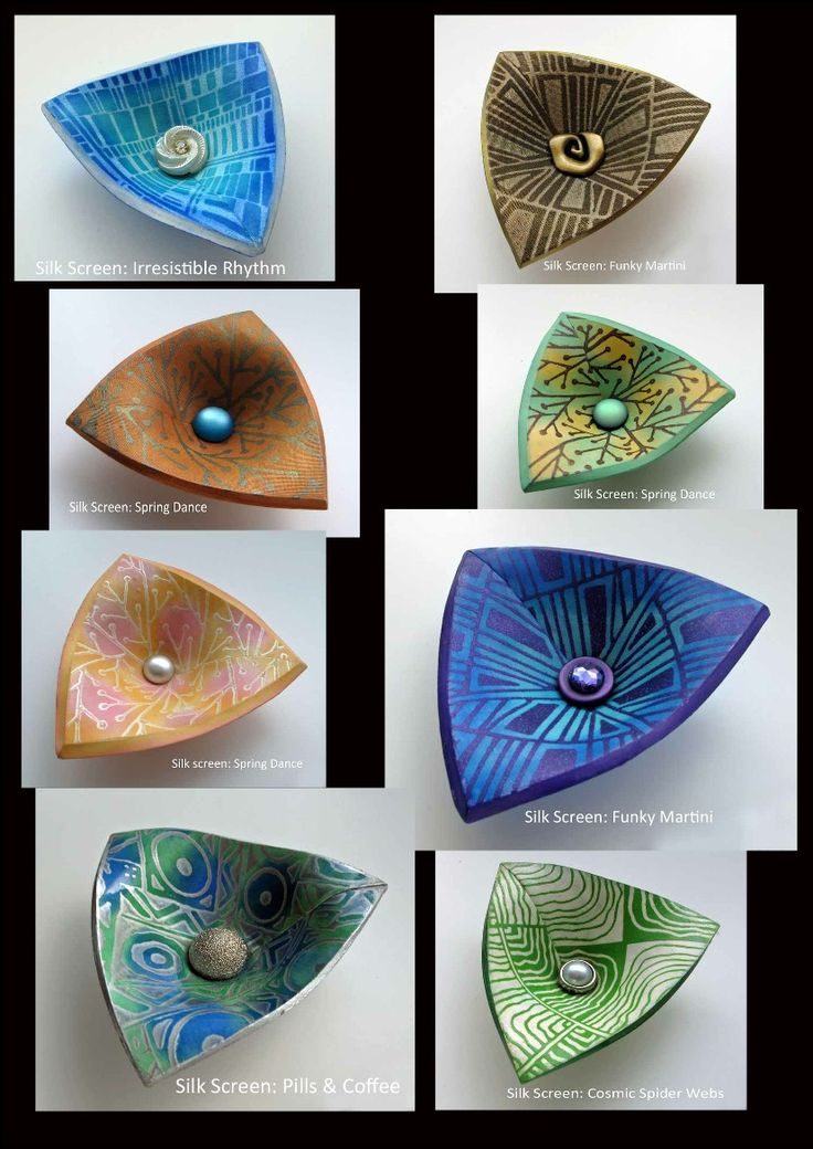 Helen Breil Designs polymer clay bowls with Helen Breil silk screen designs