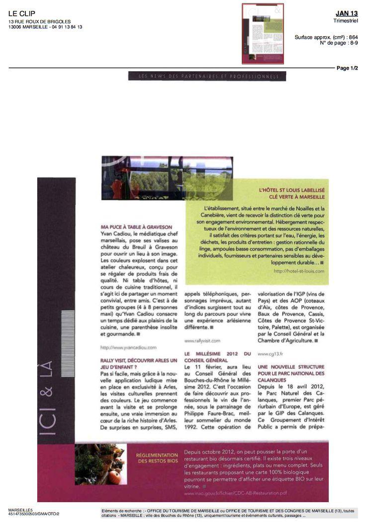 Le CLIP janvier 2013 Hotel Saint Louis Marseille