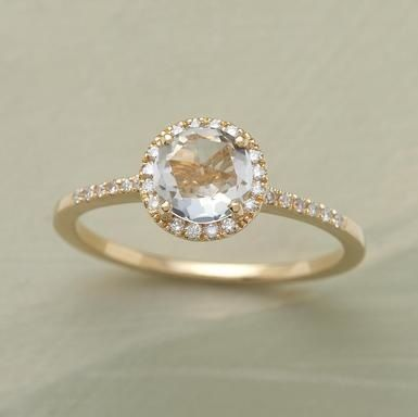 WHITE ROSE RING, engagement ring, diamond and gold ring