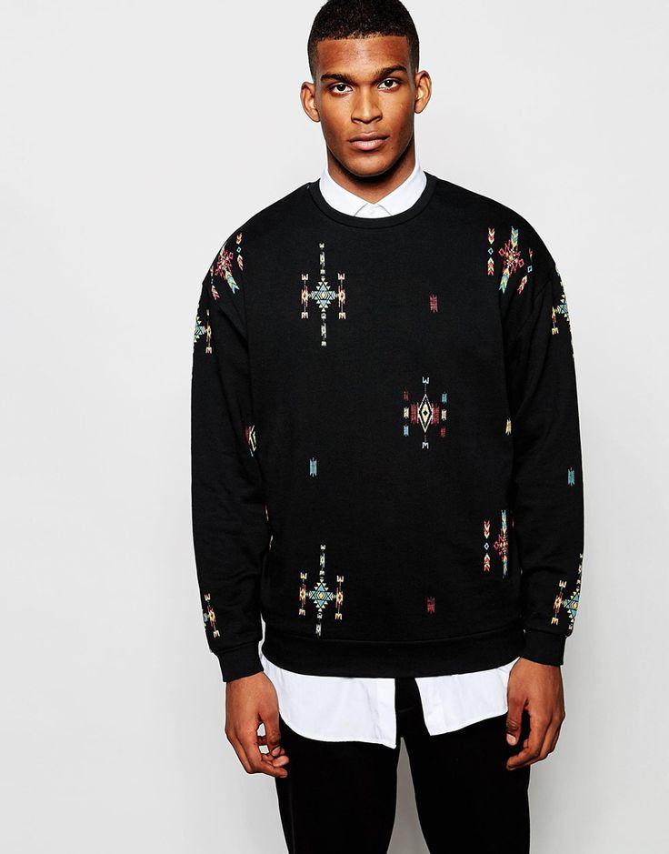 ASOS Oversized Sweatshirt With Aztec Print