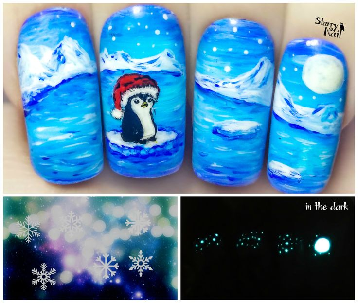 Christmas Penguin ⎮ Glow in the Dark Freehand Nail Art. Handmade Fake Nails, False Nails, Press On Nails, Micropainting On Nails by StarryNail on Etsy
