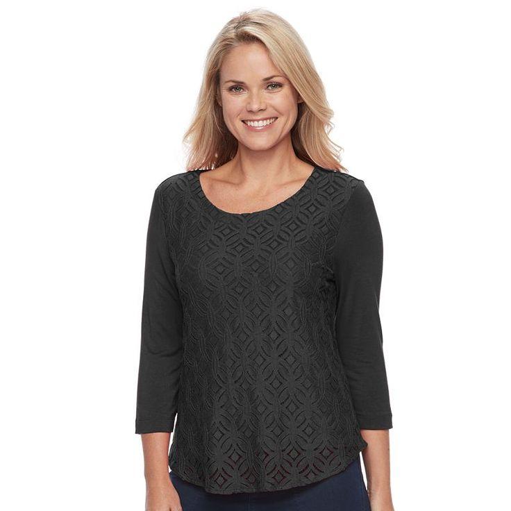 Petite Croft & Barrow® Lace-Front Tee, Women's, Size: Xl Petite, Black