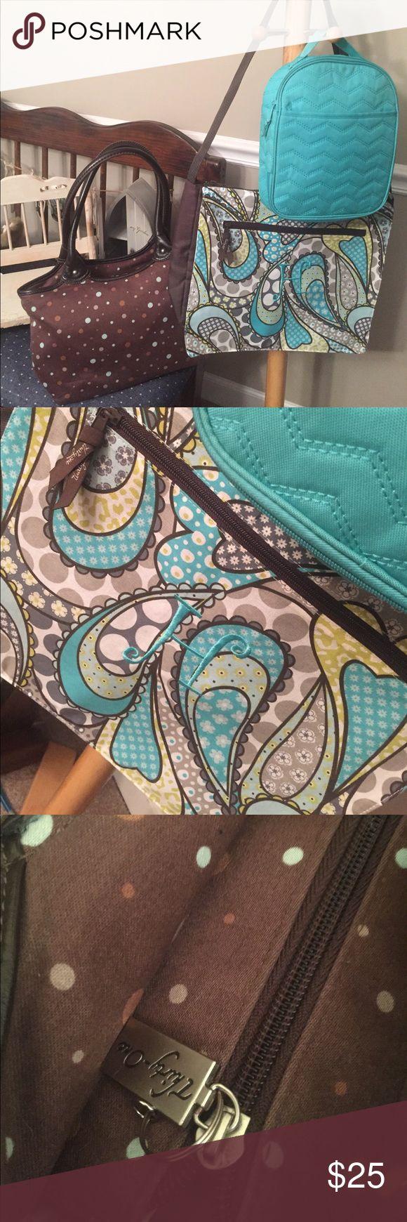 Thirty one H bundle Laptop shoulder bag insulated lunch bag and polka dot handbag. All 3 very nice. Like new   Some marks inside the brown polka dot bag thirty one Bags Laptop Bags