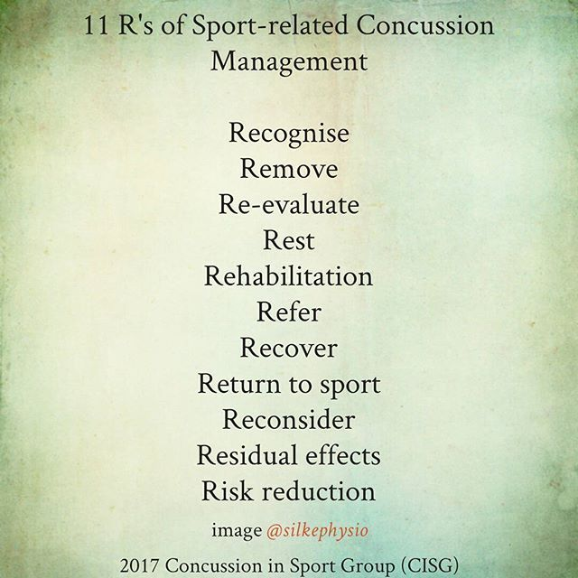 Heading to the concussion talk I mentioned in my last post? Brush up on the 2017 consensus on sports related concussion management. Full article available free from British Journal of Sports Medicine . . . . #concussion #management #sports #injury #headinjury #sport #physiotherapy #physio #sportsmedicine #medicine #injuryprevention #physicaltherapy #orthopaedics #doctor #bjsm #infographic #silkephysio