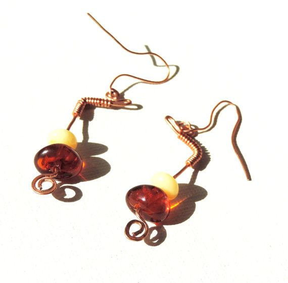 Earrings wire copper amber big beads resin small by alcpcreations