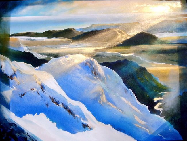 From Mt. Cook Looking Towards West Coast, acrylic with metailic pigments. Harold Coop's unique rendering of New Zealand landscape gives his paintings an almost touchable atmospheric quality.