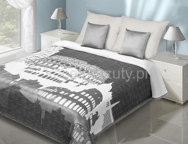 Narzuta i kapa dwustronna na łóżko w kolorze szarym z białą budowlą