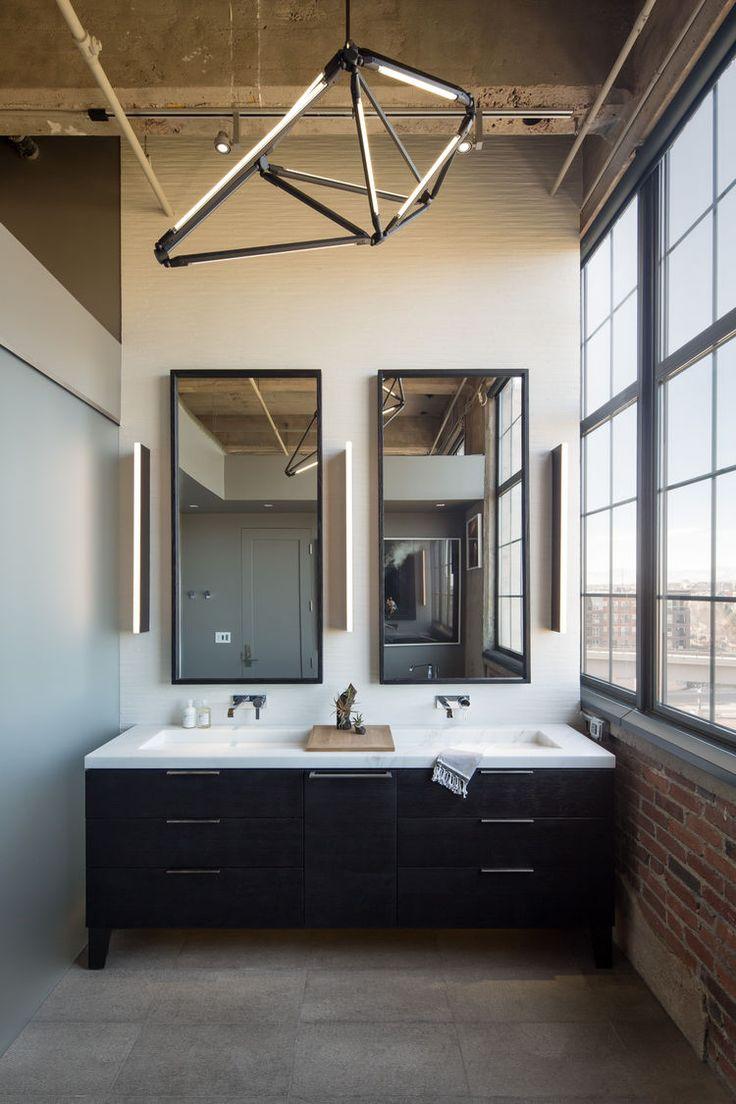 Contemporary condo bath modern bathroom chicago by jill jordan - Master Bathroom With Modern Chandelier In Denver By Robb Studio Studio Gild