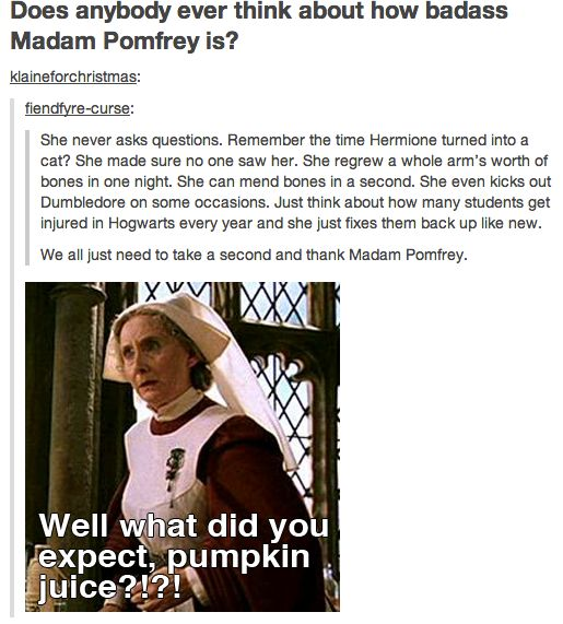 Ode to our beautiful minor characters... I know this says a bad word but its sooo awesome that i had to pin it.... Madame Pomfrey everyone...