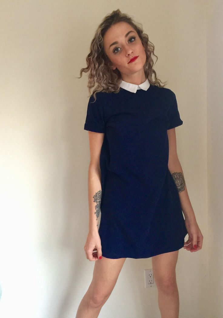 A personal favorite from my Etsy shop https://www.etsy.com/ca/listing/506419505/vintage-navy-mini-dress-dark-blue-lolita