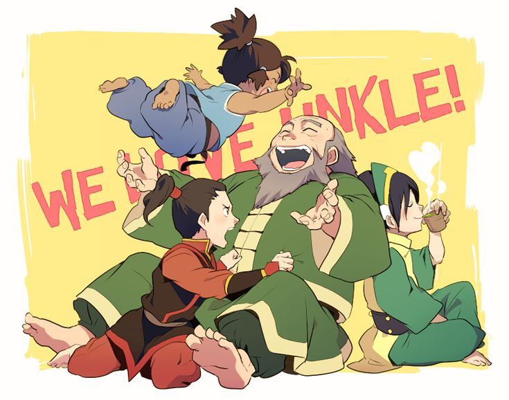 Zuko, Korra, Uncle Iroh, and Toph