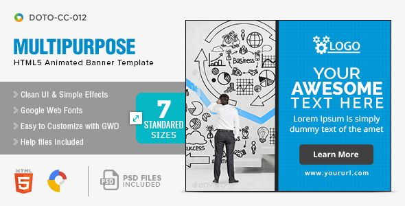 Multi Purpose Html5 Banners 7 Sizes Banner Banner Template Facebook Banner
