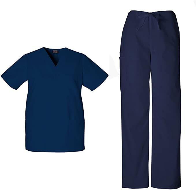 CHEROKEE 4100 RED Scrub workwear UNISEX Men Women Drawstring Cargo Pants 4XL