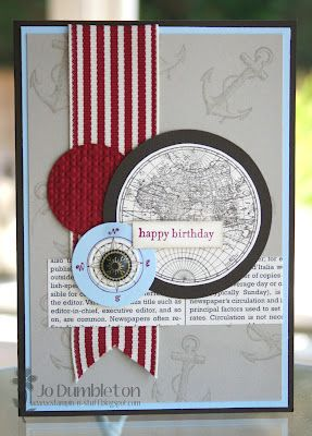 3 varied-size circles over banner ribbon with sentiment strip on top; use pattern paper for one circle for inspiration? love the masculine feel. The Open Sea - SU