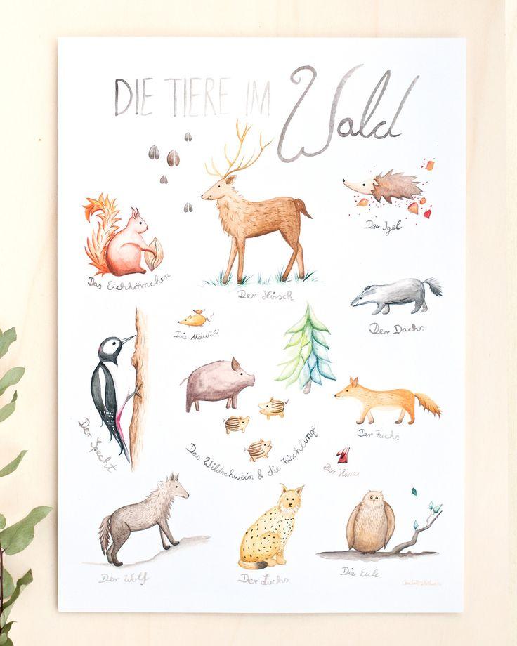 Handgezeichnete #Illustration für das #Kinderzimmer. Poster mit #Waldtieren wie #Fuchs, #Eule oder