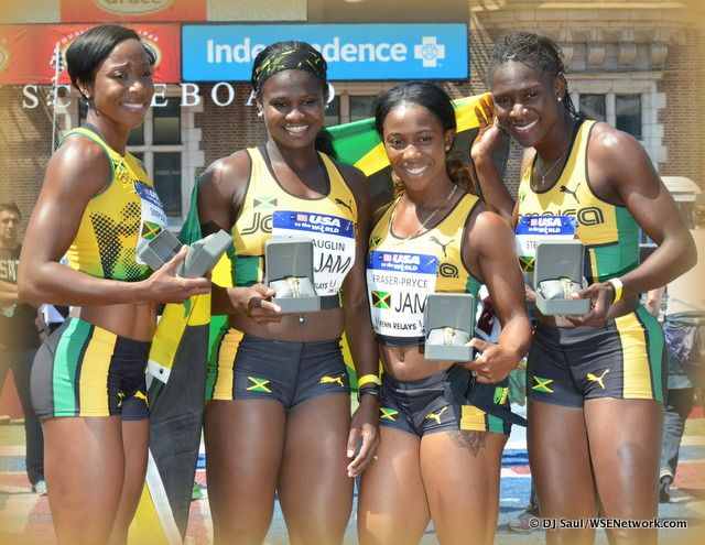 Jamaican Women | PENN RELAYS: Jamaican Women Top USA Women in 4×100