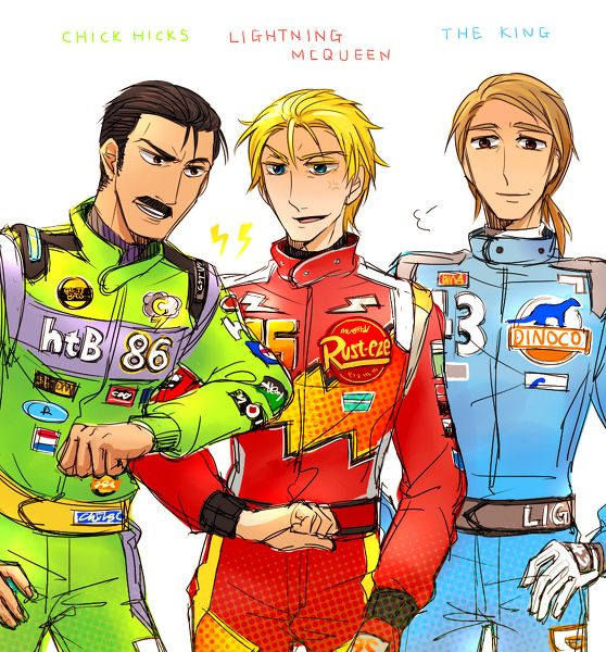 Lightning McQueen, Chick Hicks and The King: Humanized