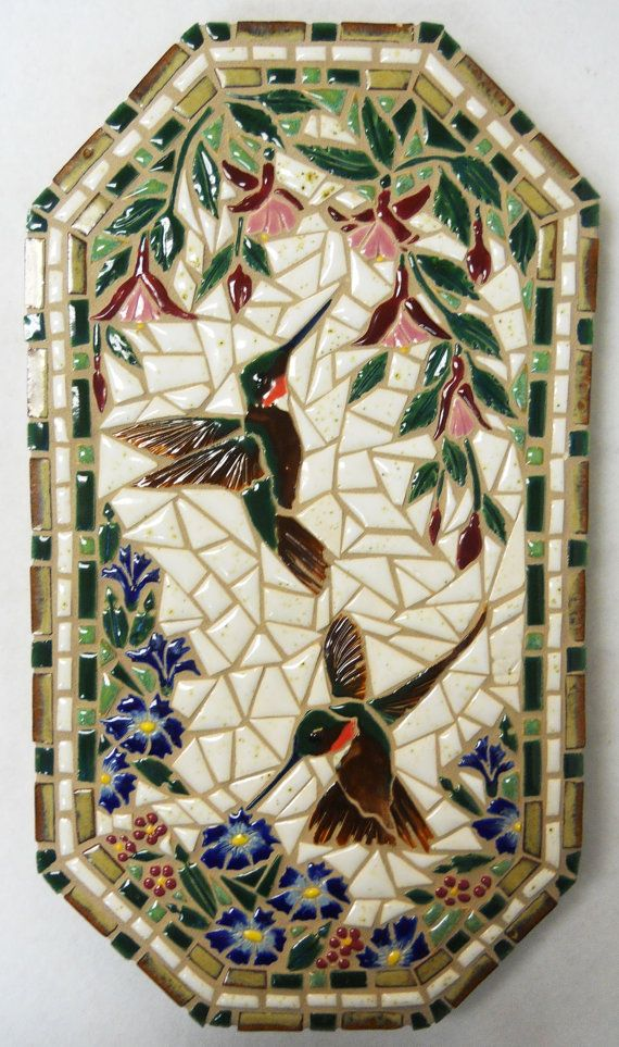 "Mosaic Wall Art Handmade Ceramic Tile ""Humming Birds and Flowers"""