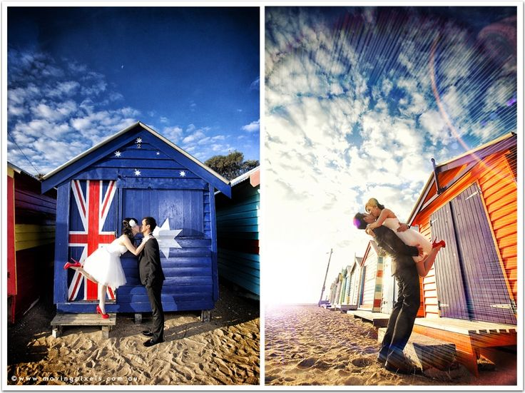 Brighton Beach Houses Wedding Shoot Weddings Movingpixels Weddingphotography Photography Prewedding Melbourne Love My D Pinterest