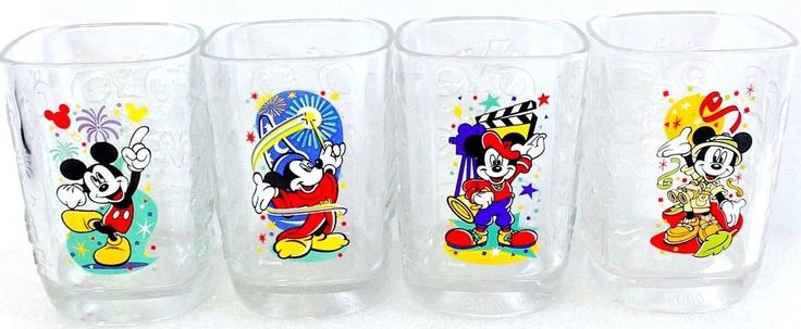 2000 McDonalds Disney Glasses Mickey Mouse WDW Celebration - Complete Set of 4