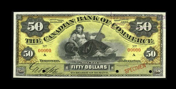 Canadian Currency: , Toronto, ON- Canadian Bank of Commerce $50 June 3, 1893 Ch.75-14-44S Specimen.