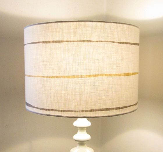 Large 35cm diameter drum lampshade white with painterly stripes in steel grey and honey
