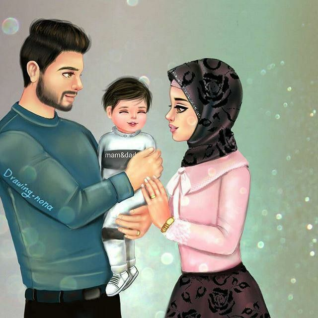 Pin By Sarah On Girly Art Cute Muslim Couples Family Cartoon Girly M