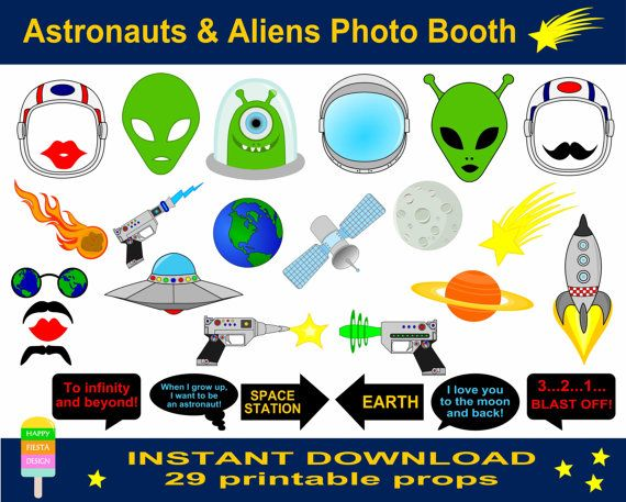 Astronauts And Aliens Photo Booth Props–29 Pieces-Astronaut Party Props-Rocket Man Photo Booth Props-Aliens Photo Props-Instant Download