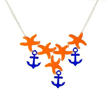 Anchor necklace by @KiviMeri  Anchor and sea stars necklace in Blue and Orange.
