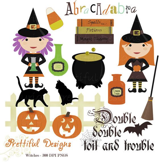 Halloween Witch Clip Art for Personal or Commercial Use - Spooks On (754)
