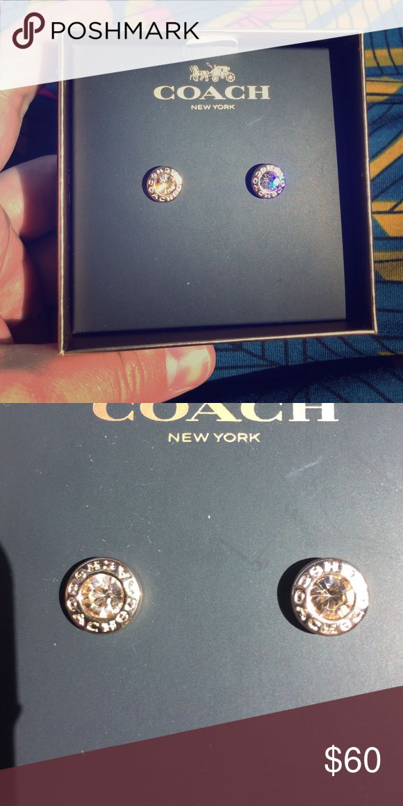 NEW! Coach Jewelry Collection Earrings So shiny rose gold earrings from the brand new coach New York jewelry collection. For pierced ears Coach Jewelry Earrings