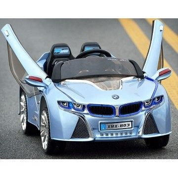 bmw i8 ride on car limited vision kids blue step on the gas and