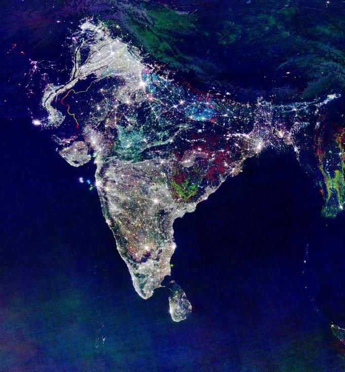 India from space during diwali
