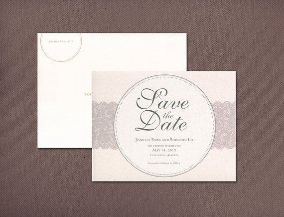 """Vintage Save the Date, Elegant Wedding Save the Date, Ivory Blush and Grey Save the Dates,  Lace Save the Date - """"Jonelle"""" SAMPLE"""